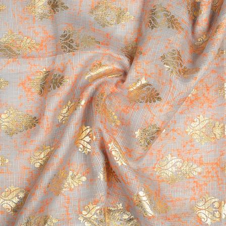 Gray-Orange and Golden Floral Design Kota Doria Fabric-25108