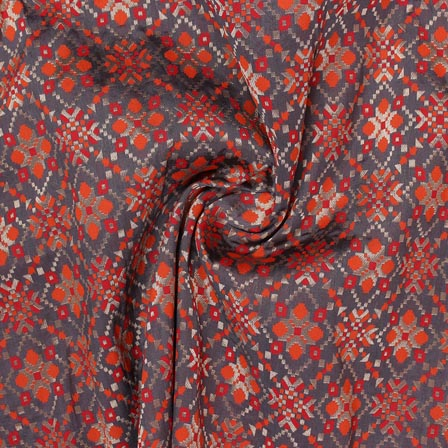 Gray Orange and White Floral Banarasi Silk Fabric-9318