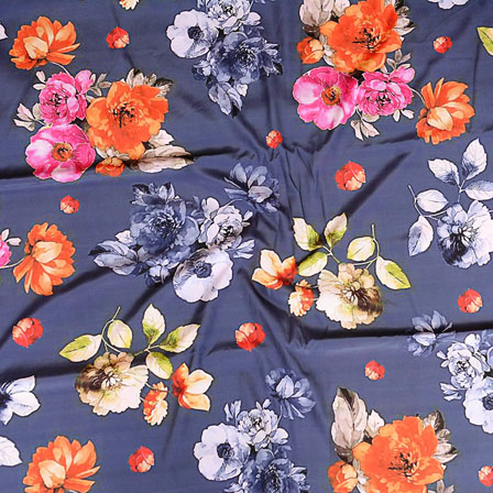 Gray Orange and White Flower Crepe Silk Fabric-18231