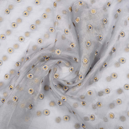 Gray Organza Fabric With Golden Floral Embroidery -51019