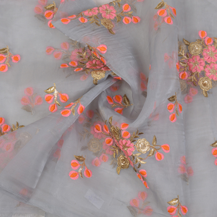 Gray Organza Fabric With Orange and Golden Floral Embroidery-60064
