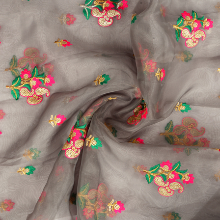 Gray Organza Fabric With Pink and Golden Paisley Embroidery-51007