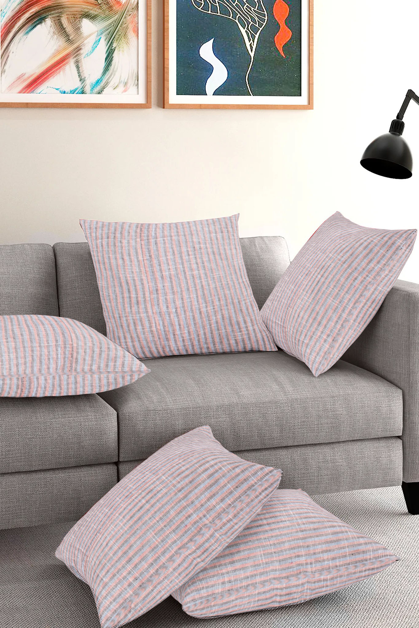 Set of 5-Gray Pink Cotton Cushion Cover-35386-16x16 Inches