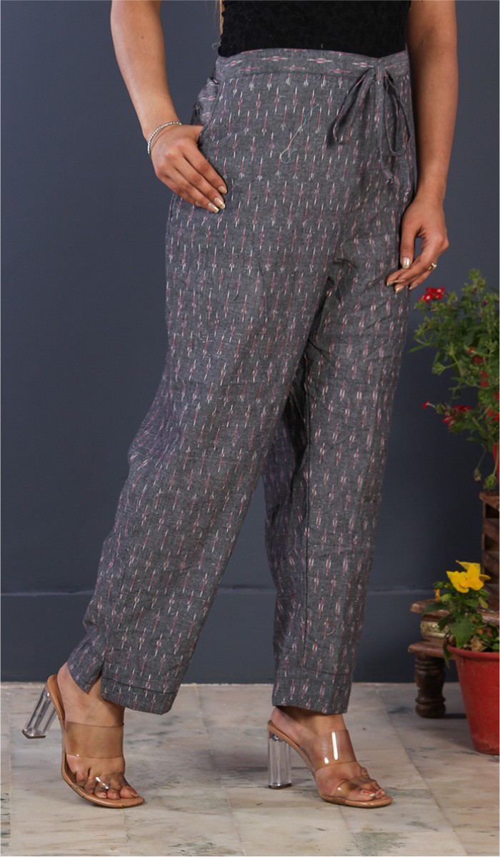 Gray Pink Cotton Ikat Ankle Women Pant-34670