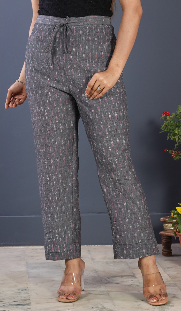 Gray Pink Cotton Ikat Ankle Women Pant-34672