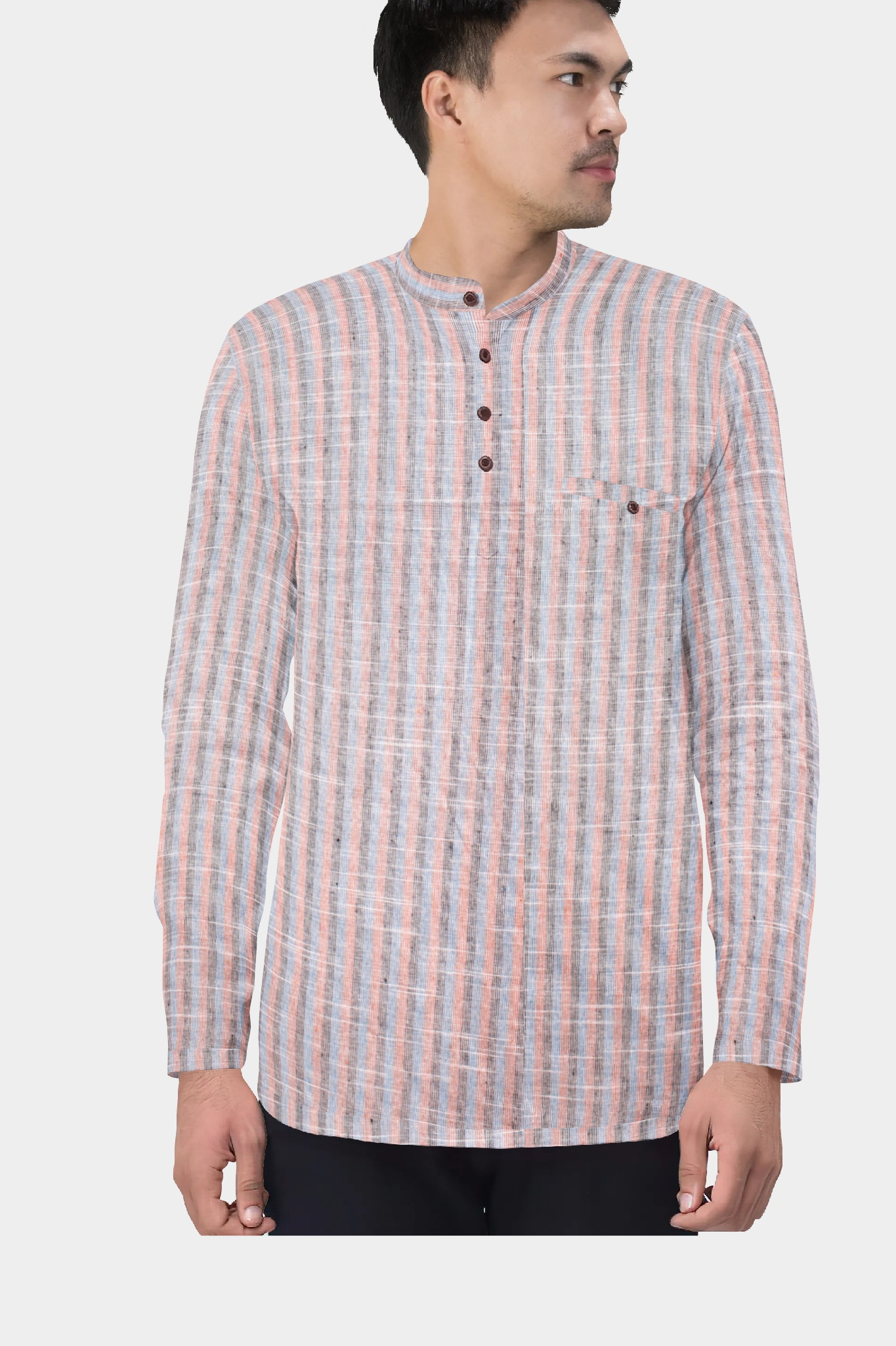 Gray Pink Cotton Striped Short Kurta-35430