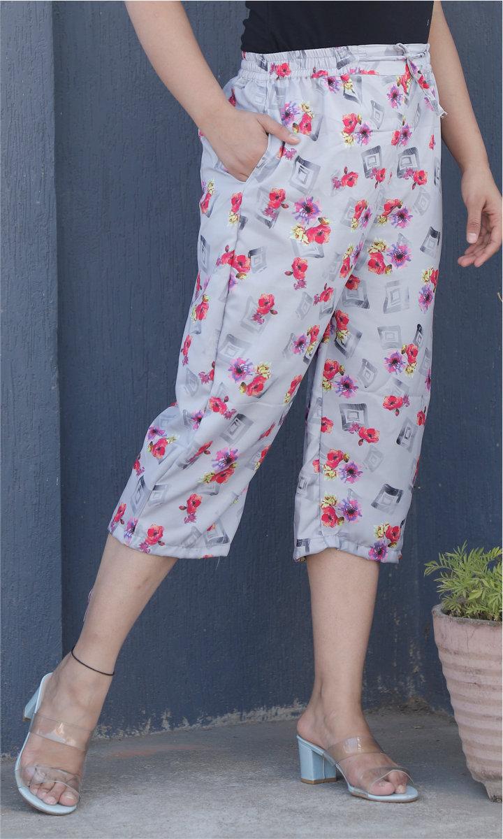 Gray Pink Crepe Silk Women culottes-34448