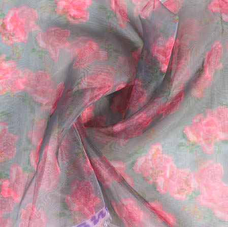 Gray Pink Digital Floral Organza Silk Fabric-51819