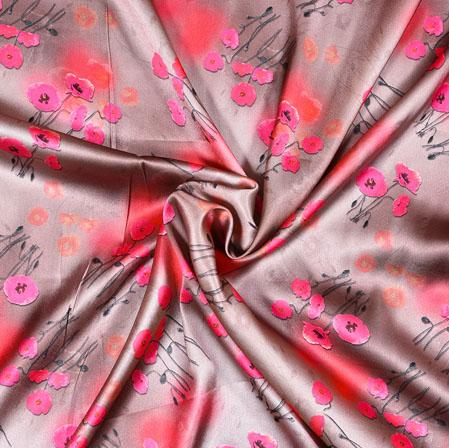 Gray Pink Digital Flower Print Georgette Fabric-41185