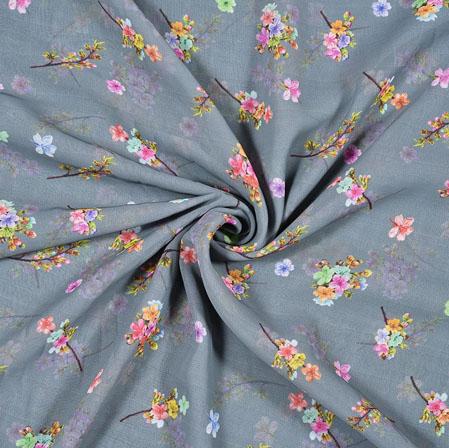 Gray Pink Digital Flower Print Georgette Fabric-41190
