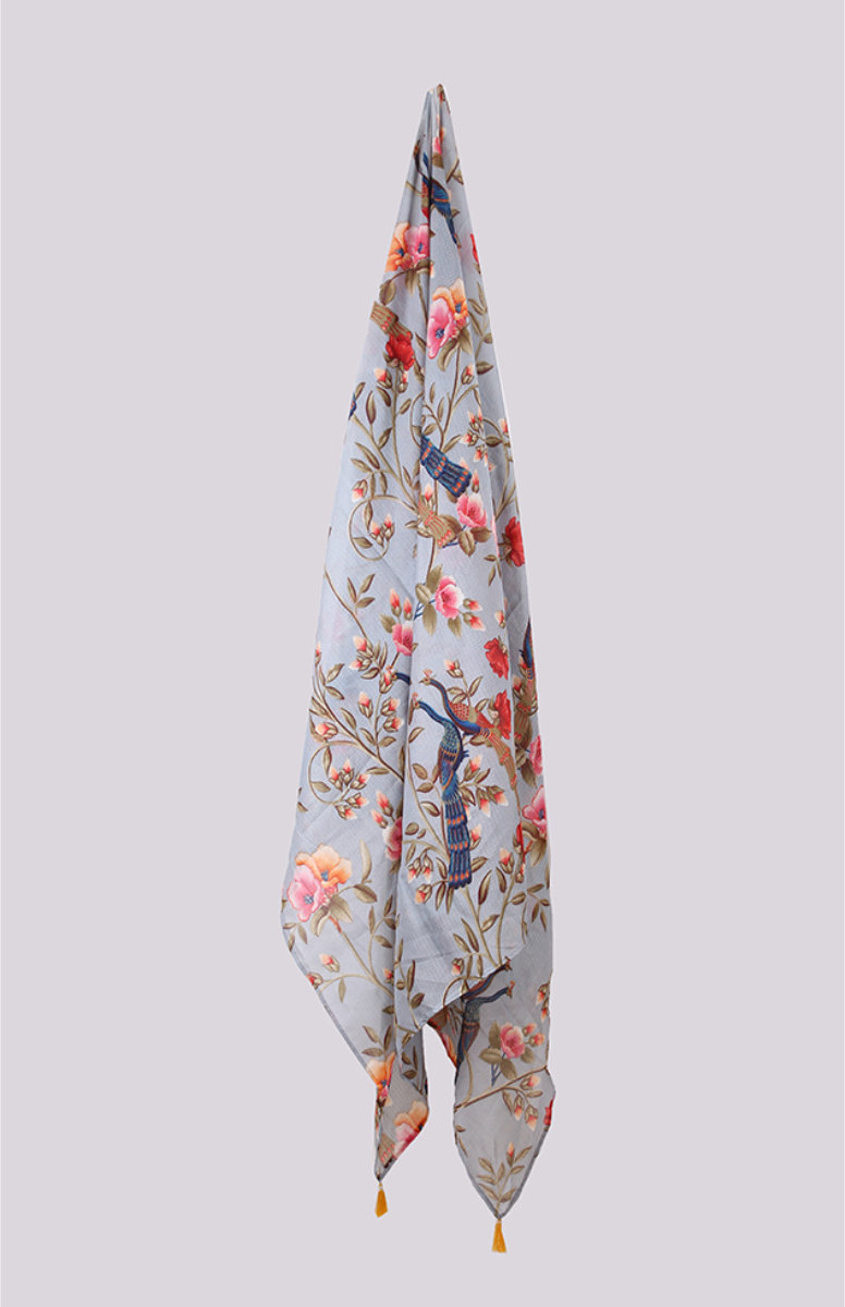 Gray Pink Digital Printed Kota Doria Dupatta with Tassel-33426