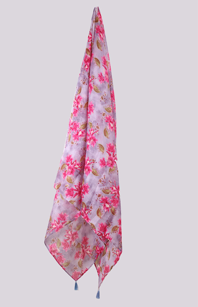 Gray Pink Digital Printed Kota Doria Dupatta with Tassel-33440