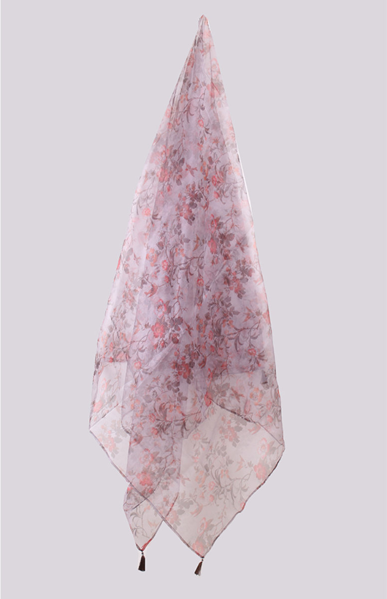 Gray Pink Digital Printed Organza Dupatta with Tassel-33424