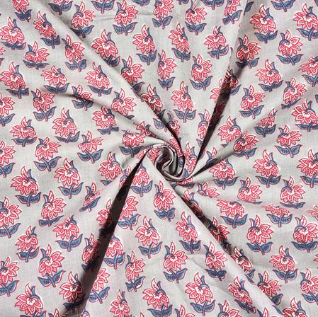 Gray Pink Floral Block Print Cotton Fabric-28474
