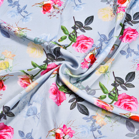 Gray Pink Floral Crepe Silk Fabric-41026