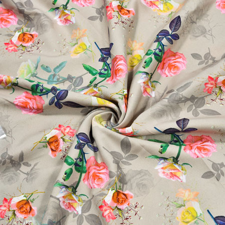 Gray Pink Floral Crepe Silk Fabric-41058