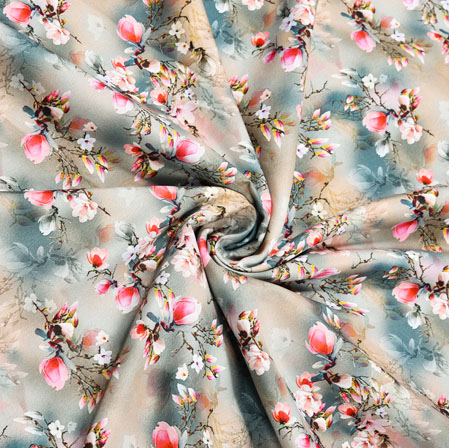 Gray Pink Floral Crepe Silk Fabric-41098