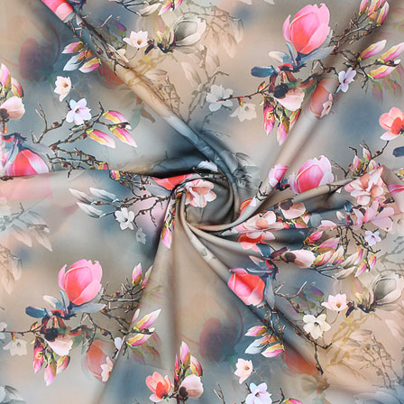 Gray Pink Flower Crepe Silk Fabric-18247