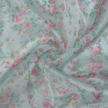 Gray Pink Flower Organza Digital Fabric-22207