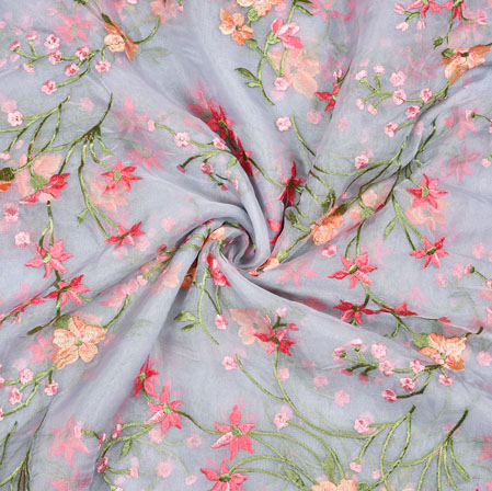 Gray Pink Flower Organza Embroidery Fabric-22257