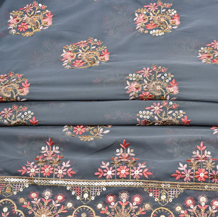 Gray Pink Flower Panel Work Georgette Embroidery Silk Fabric-19222