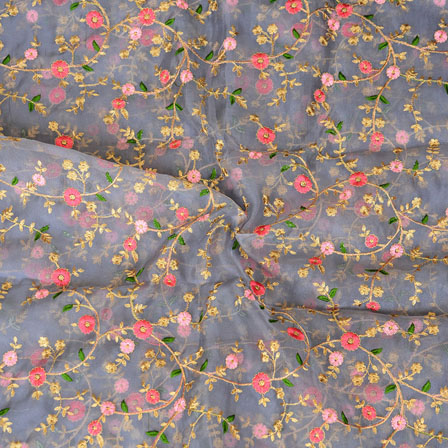 Gray Pink Flower embroidery Organza Silk Fabric-51525
