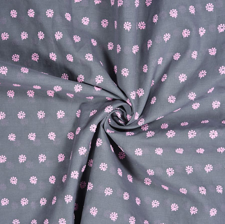 Gray Pink Polka Cotton Embroidery Fabric-28322