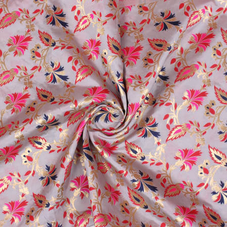 Gray Pink and Golden Floral Banarasi Silk Fabric-9385
