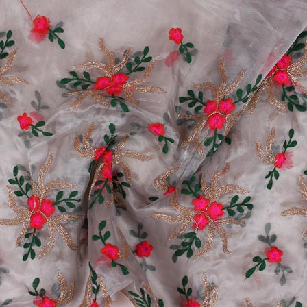 Gray Pink and Golden Floral Embroidery Organza Silk Fabric-51683