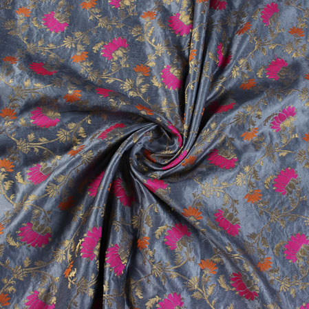 Gray Pink and Golden Floral Satin Brocade Silk Fabric-9485