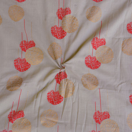 Gray Pink and Golden Foil Print Cotton Fabric-15125