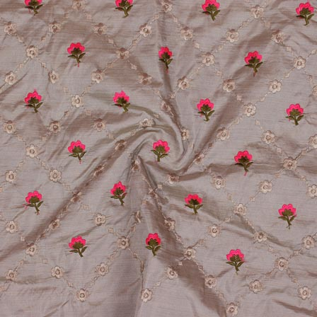 Gray Pink and Golden Jalbari Embroidery Silk Fabric-61048