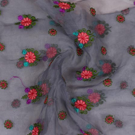 Gray Pink and Green Embroidery Organza Silk Fabric-51647