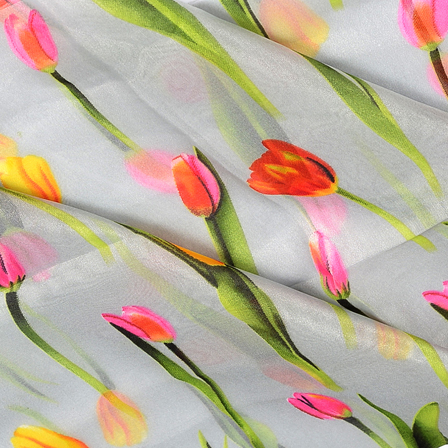 Gray-Pink and Green Floral Design Silk Organza Fabric-50045