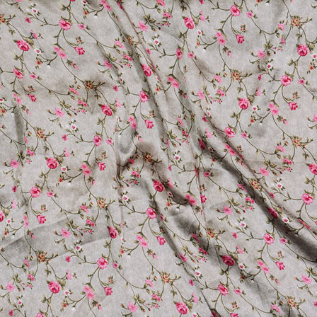 Gray Pink and Green Flower Japan Satin Fabric-18200