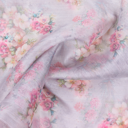 Gray-Pink and Green Flower Organza Digital Print Fabric-51383