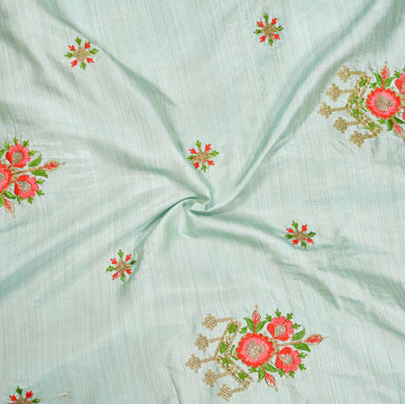 Gray Pink and Green Embroidery Silk Paper Fabric-18576