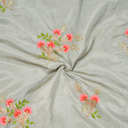 Gray Pink and Green Embroidery Silk Paper Fabric-18578