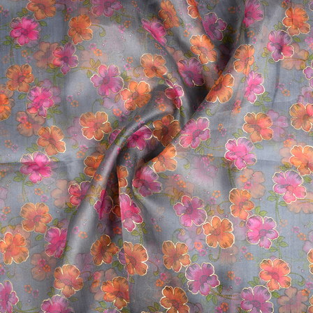 Gray-Pink and Orange Flower Organza Print Fabric-51286