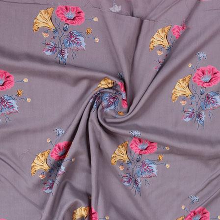Gray Pink and Yellow Block Print Rayon Fabric-14811