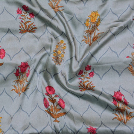 Gray Pink and Yellow Flower Japan Satin Fabric-18195