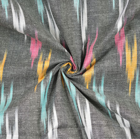 Gray Pink and Yellow Ikat Cotton Fabric-11115