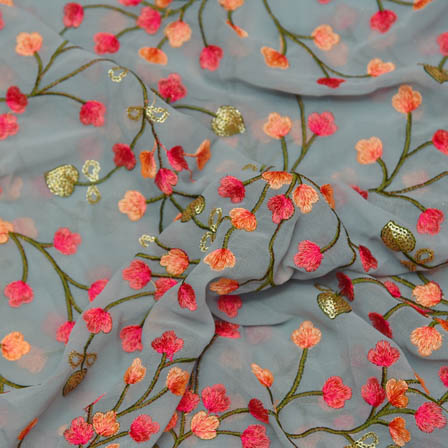 Gray Poly Georgette Base Fabric With Pink Flower Embroidery-60029