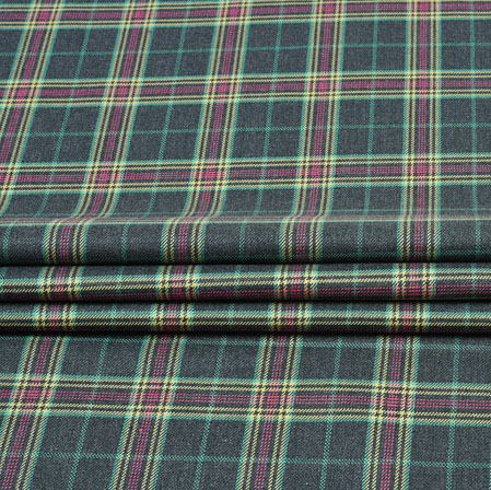 Gray Purple Check Wool Fabric-90117