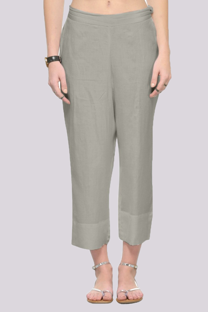 Gray Rayon Ankle Length Pant-33674