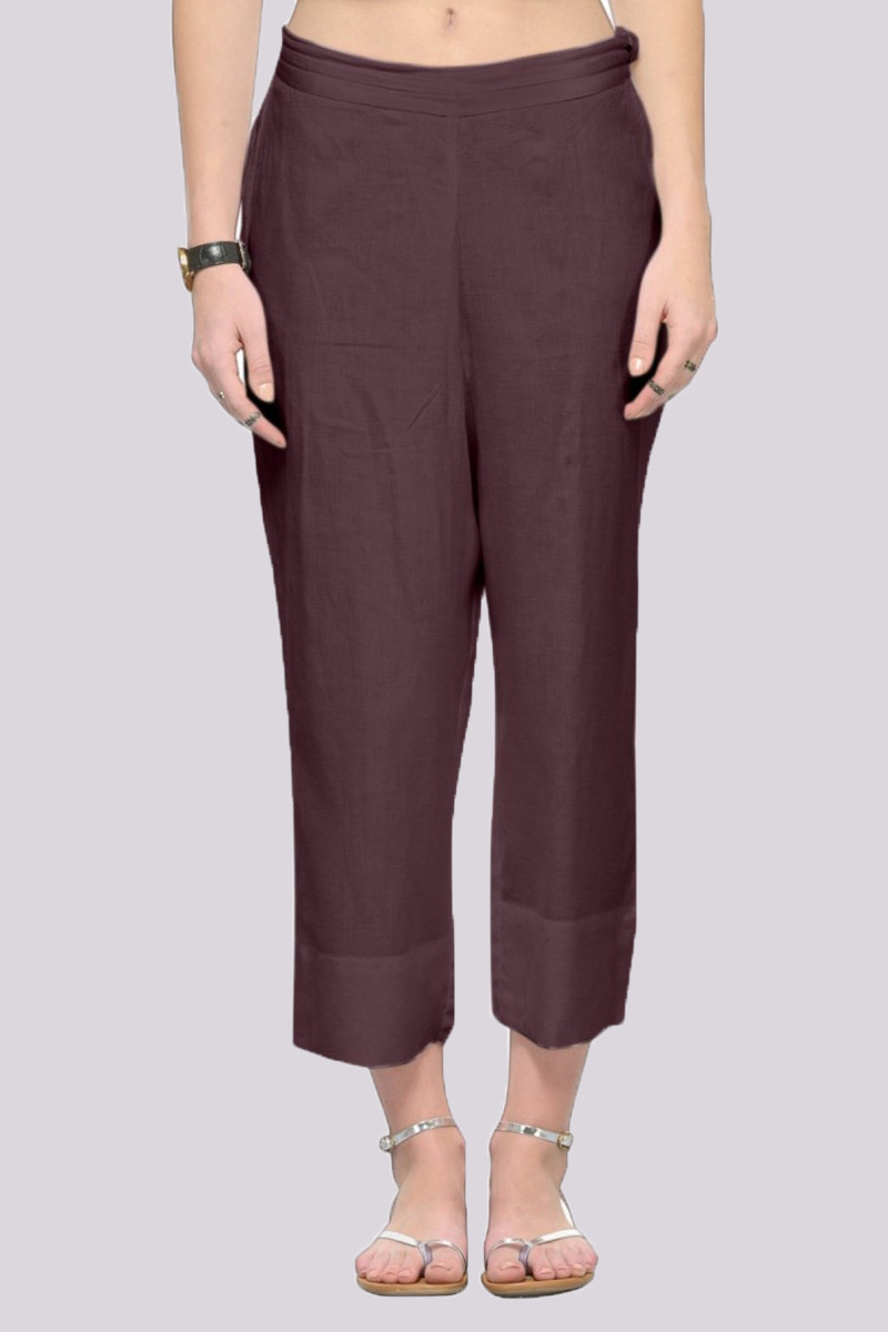 Gray Rayon Ankle Length Pant-33678