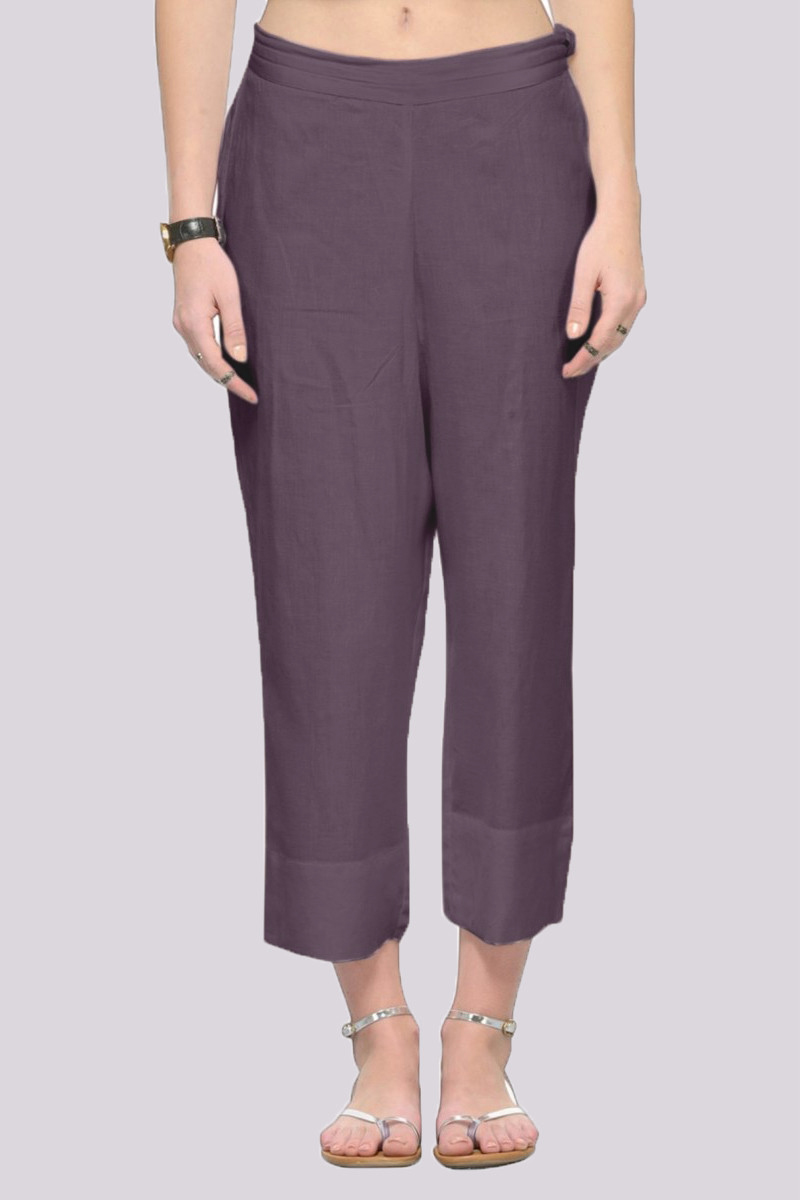 Gray Rayon Ankle Length Pant-33687