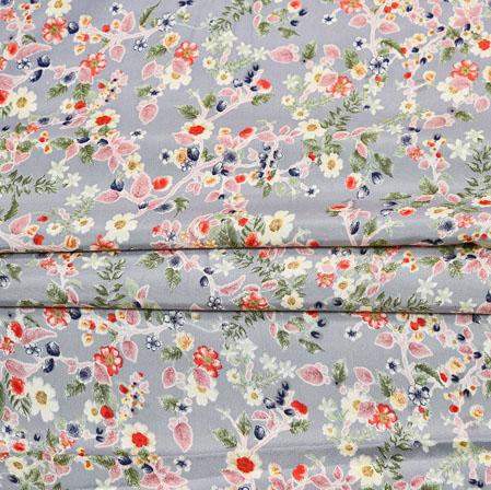 Gray Red Digital Flower Print Georgette Fabric-41192