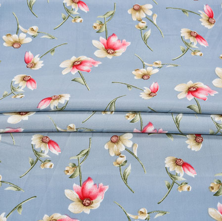 Gray Red Digital Flower Print Georgette Fabric-41212