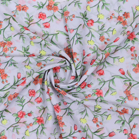 Gray Red Flower Georgette Silk Fabric-15245